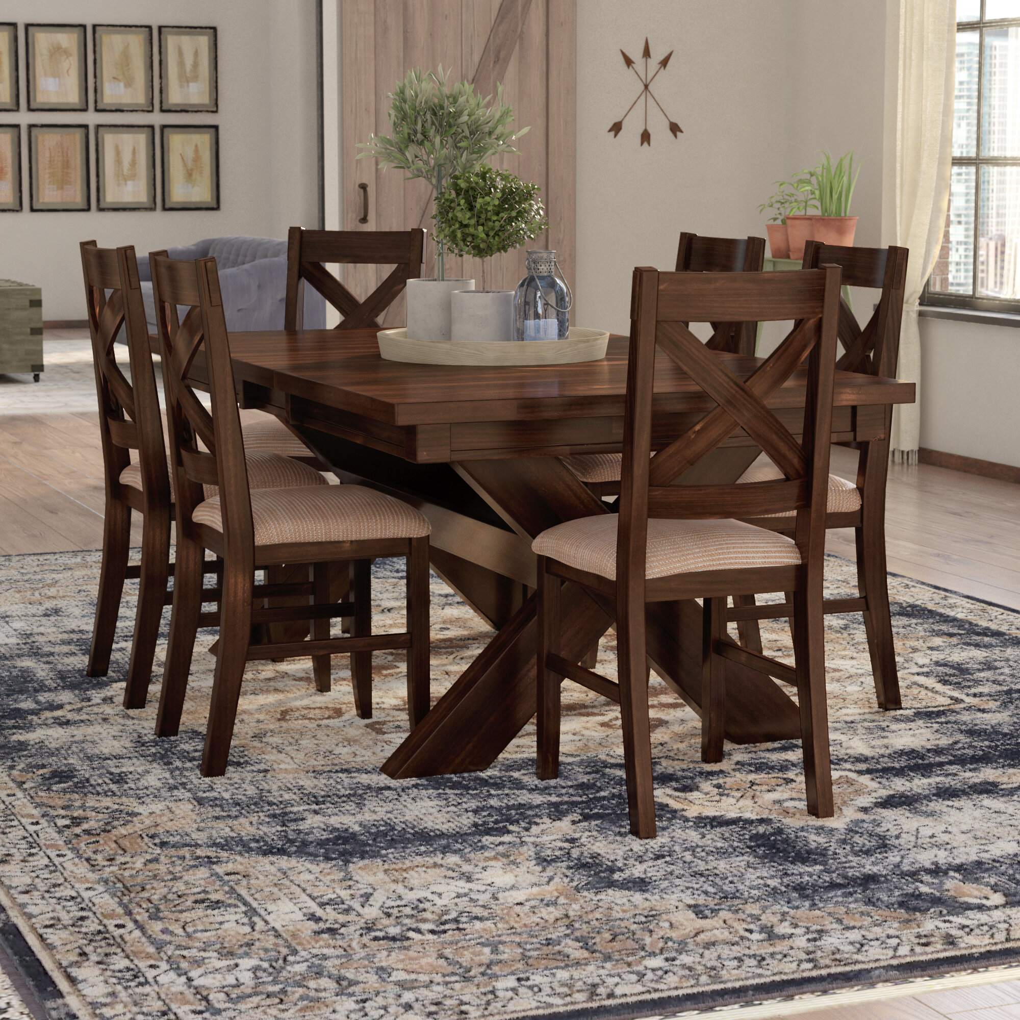 Laurel Foundry Modern Farmhouse Isabell 7 Piece Solid Wood Dining Set Reviews