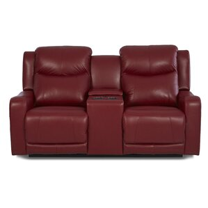 Theodore Leather Reclining Sofa by Red Barre..