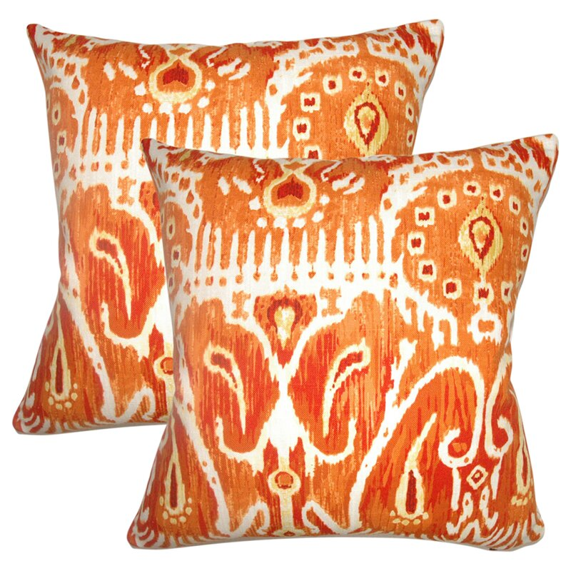 Bungalow Rose Jean Marc Ikat Cotton Throw Pillow Wayfair