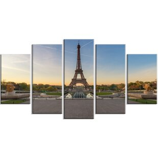 Wide View Of Paris Eiffel Tower At Sunrise 5 Piece Wall Art On Wred Canvas Set