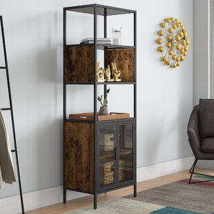 Nena Metal And Wood Display Stand With Glass Door Cool