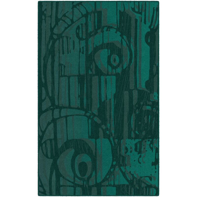 Bloomsbury Market Pomonok Teal Area Rug, Size: Rectangle 76 x 10, Backing Material: Woven Polypropylene