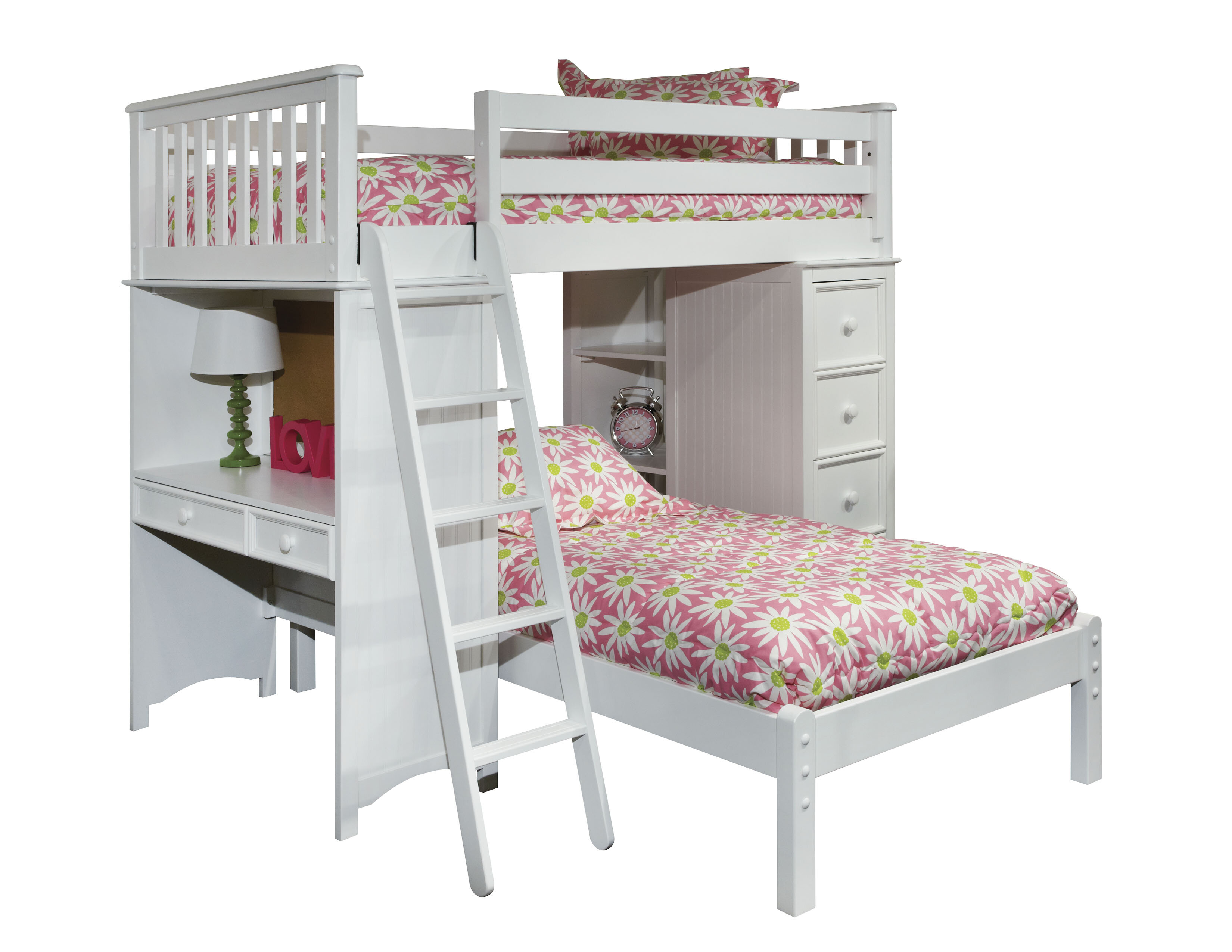 Harriet Bee Bonneau Twin Loft Bed with Lower Platform Bed | Wayfair