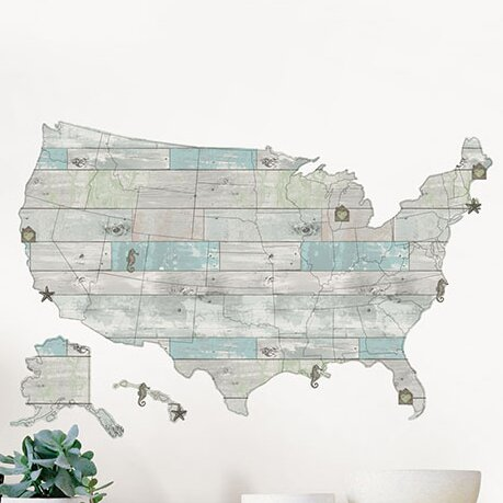 WallPops Beach Lover US Map Wall Decal Reviews Wayfair - Beaches in the us map