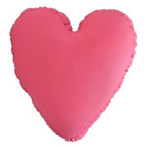 Shirred Heart Cotton Throw Pillow