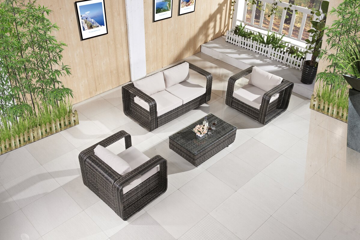 Corrigan Studio Kylah 4 Piece Rattan Sofa Set with Cushions ...