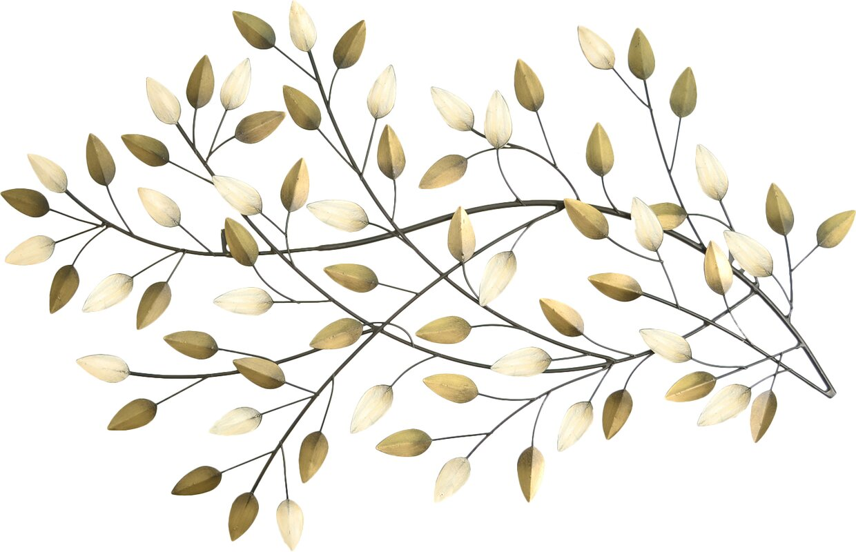 Champagne and Gold Metal Blowing Leaves Wall Dcor