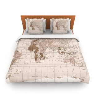 World map bedding sets coverlets quilts wayfair emerald world vintage map by catherine holcombe featherweight duvet cover gumiabroncs Images