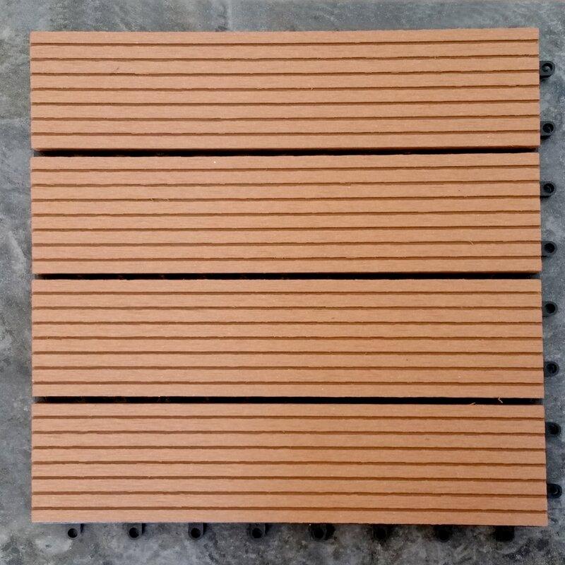 Vifah Composite Teak 12 X Interlocking Deck Tiles Reviews Wayfair