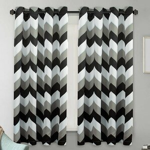Dillow Chevron Blackout Thermal Grommet Curtain Panels (Set Of 2)
