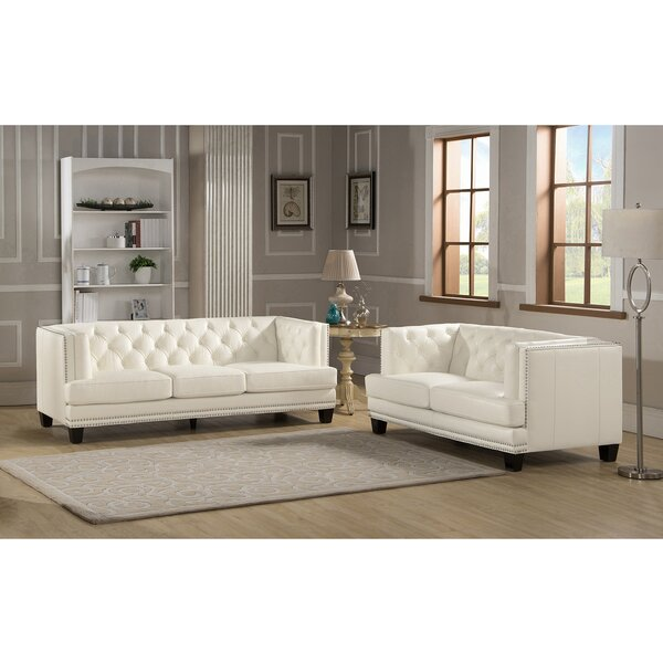Amax Newport 2 Piece Leather Living Room Set & Reviews | Wayfair