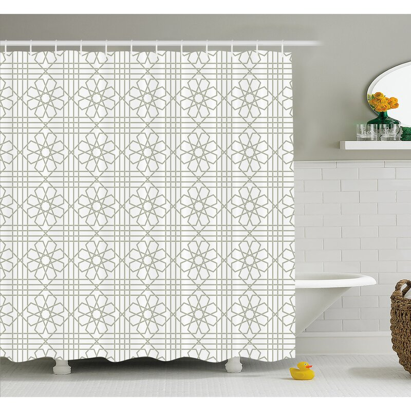 Arabesque Pattern Mosaic Tiles With Moroccan Floral Traditional Symmetric Artwork Shower Curtain Set
