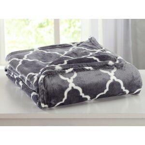 Ultra Velvet Plush Super Soft Printed Bed Blanket with Lattice Scroll
