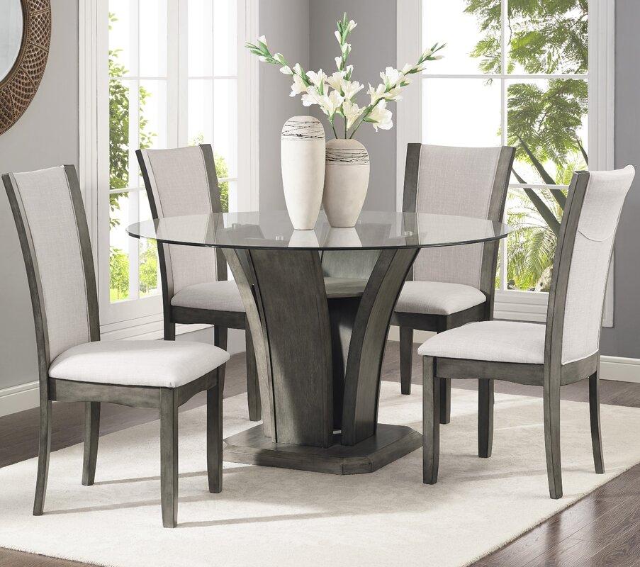 Kangas 5 Piece Glass Top Dining Set