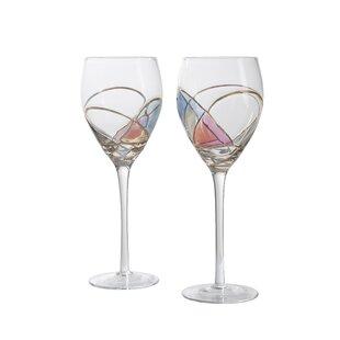 unique hand painted wine glasses decorating party holly hand painted 12 oz stemmed wine glass set of 2 glasses wayfair