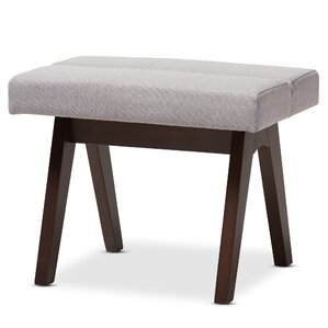 Lazzaro Mid-Century Modern Walnut Wood Fabric Ottoman by Wholesale Interiors