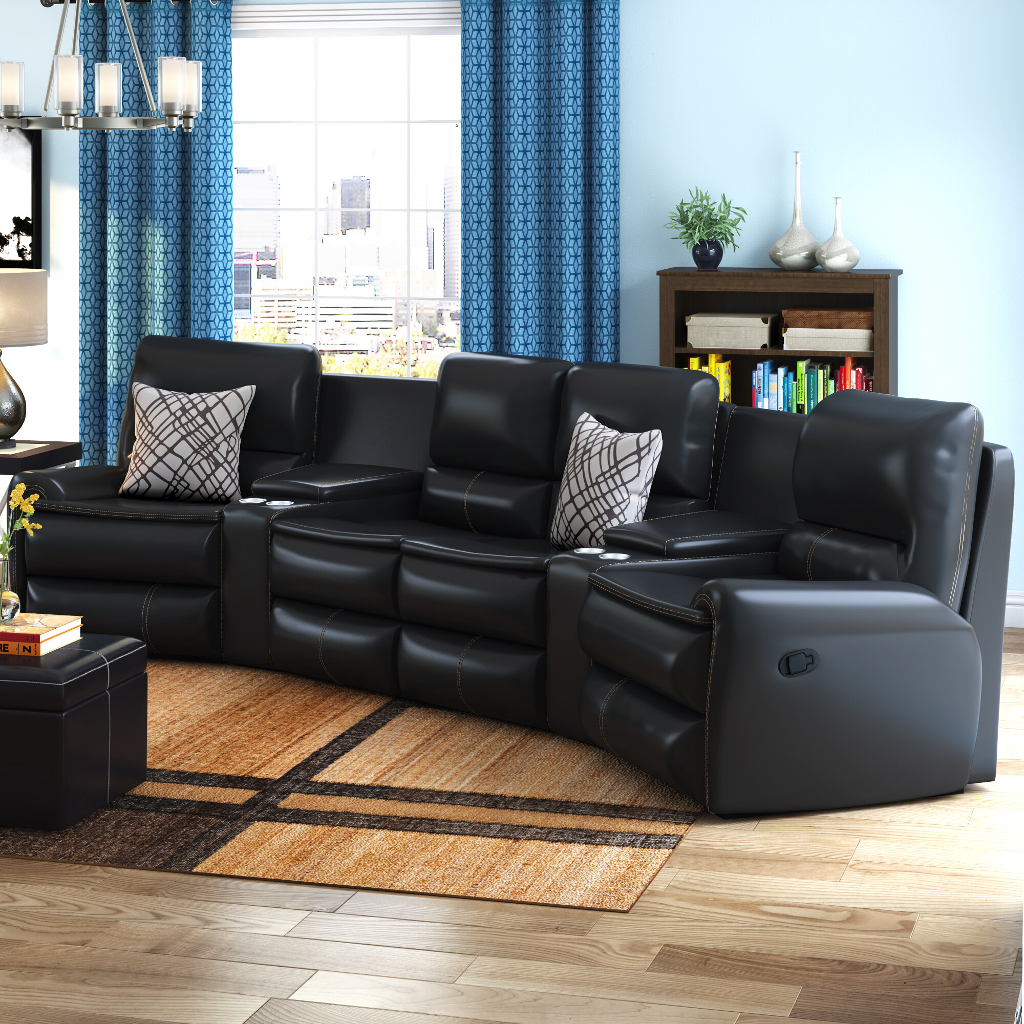 Latitude Run Yonkers Leather Reclining Sectional Reviews Wayfair