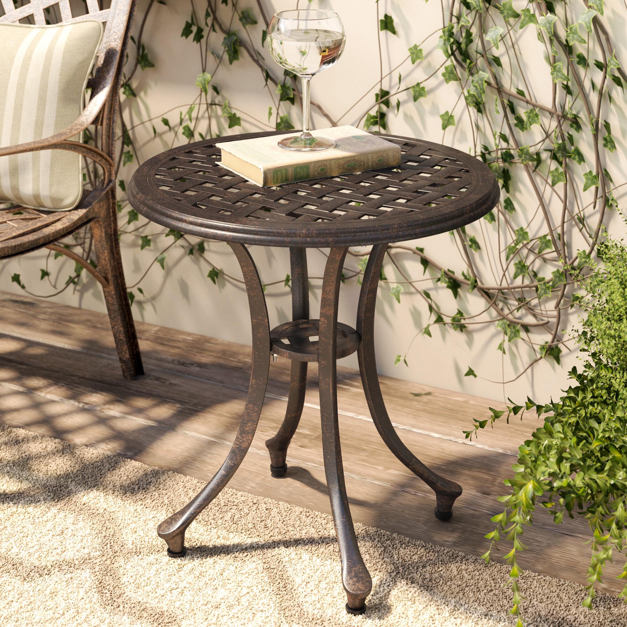 charlton home kastner outdoor metal side table reviews wayfair