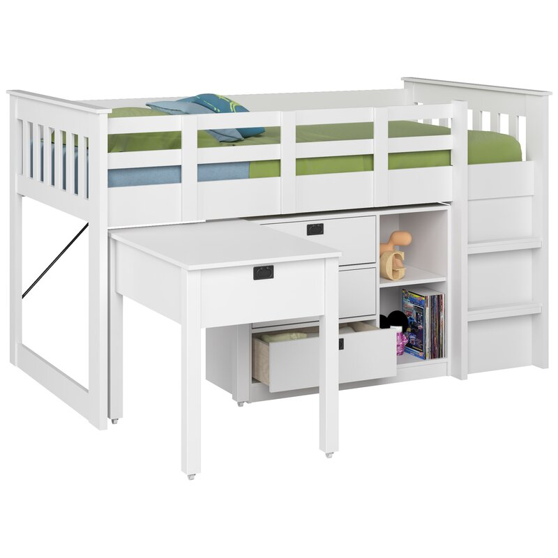 Angelica Twin Low Loft Bed With Storage And Bookcase Reviews