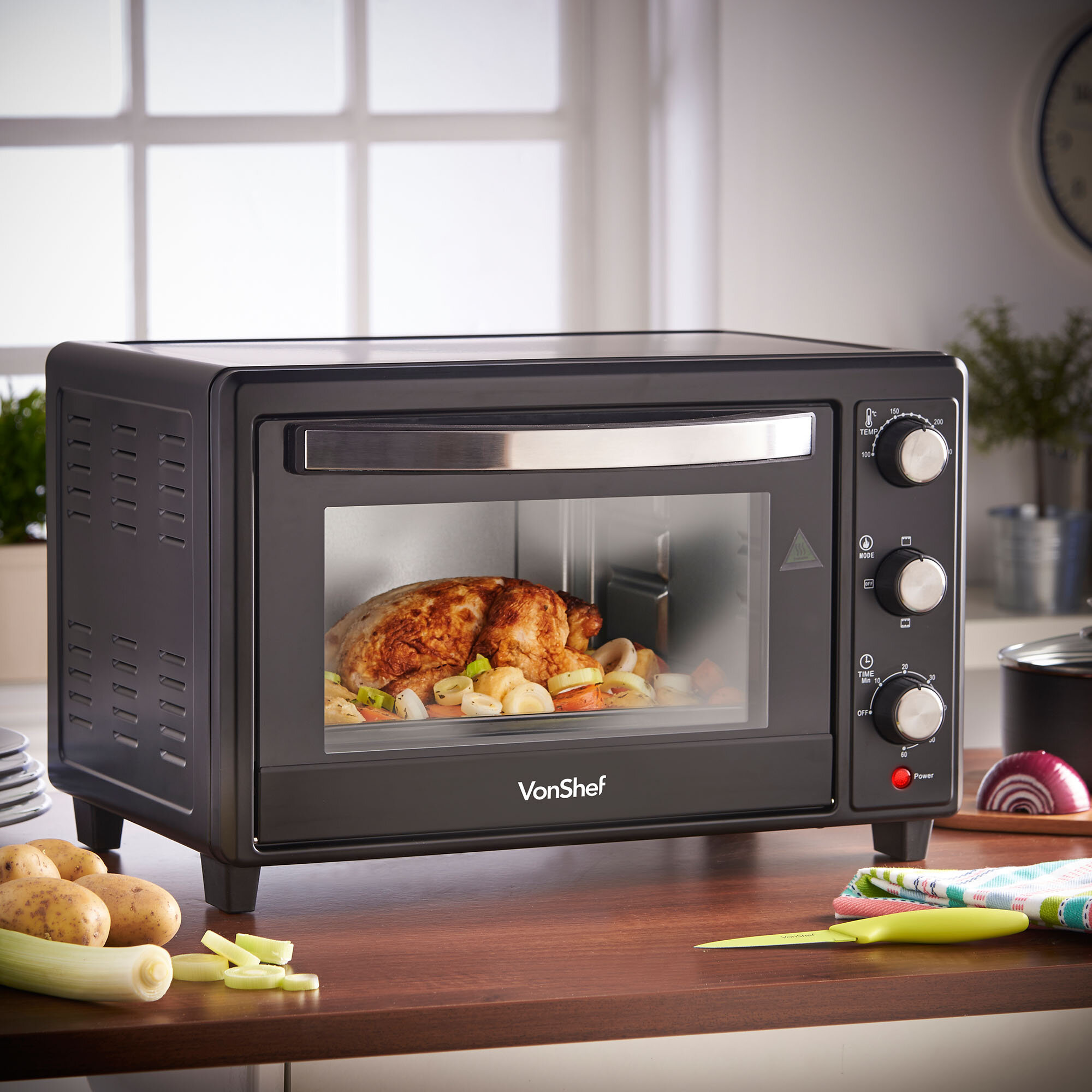 VonShef 0.87 Cu. Ft. Mini Countertop Toaster Mini Oven with Baking ...