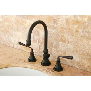 Silver Sage Double Handle Widespread Bathroom Faucet with Brass Pop-Up Drain