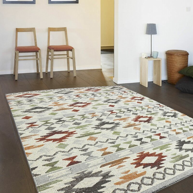 World Menagerie Florence White Paper Red Blue Beige Rug