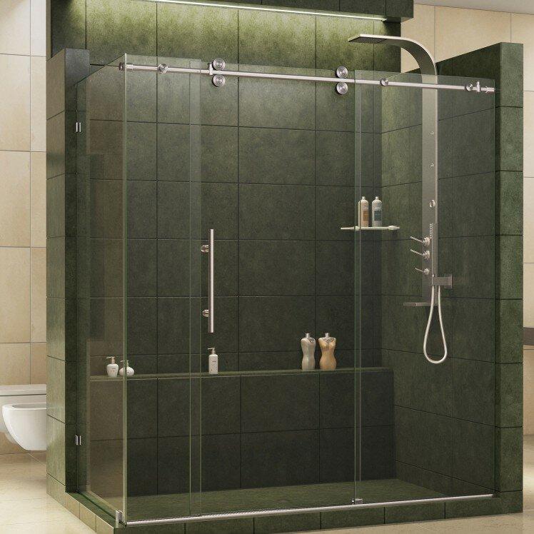 corner shower kits 36 x 36. Enigma Fully Frameless 72 5  x 36 79 Rectangle Sliding Shower Enclosure Stalls Enclosures You ll Love Wayfair