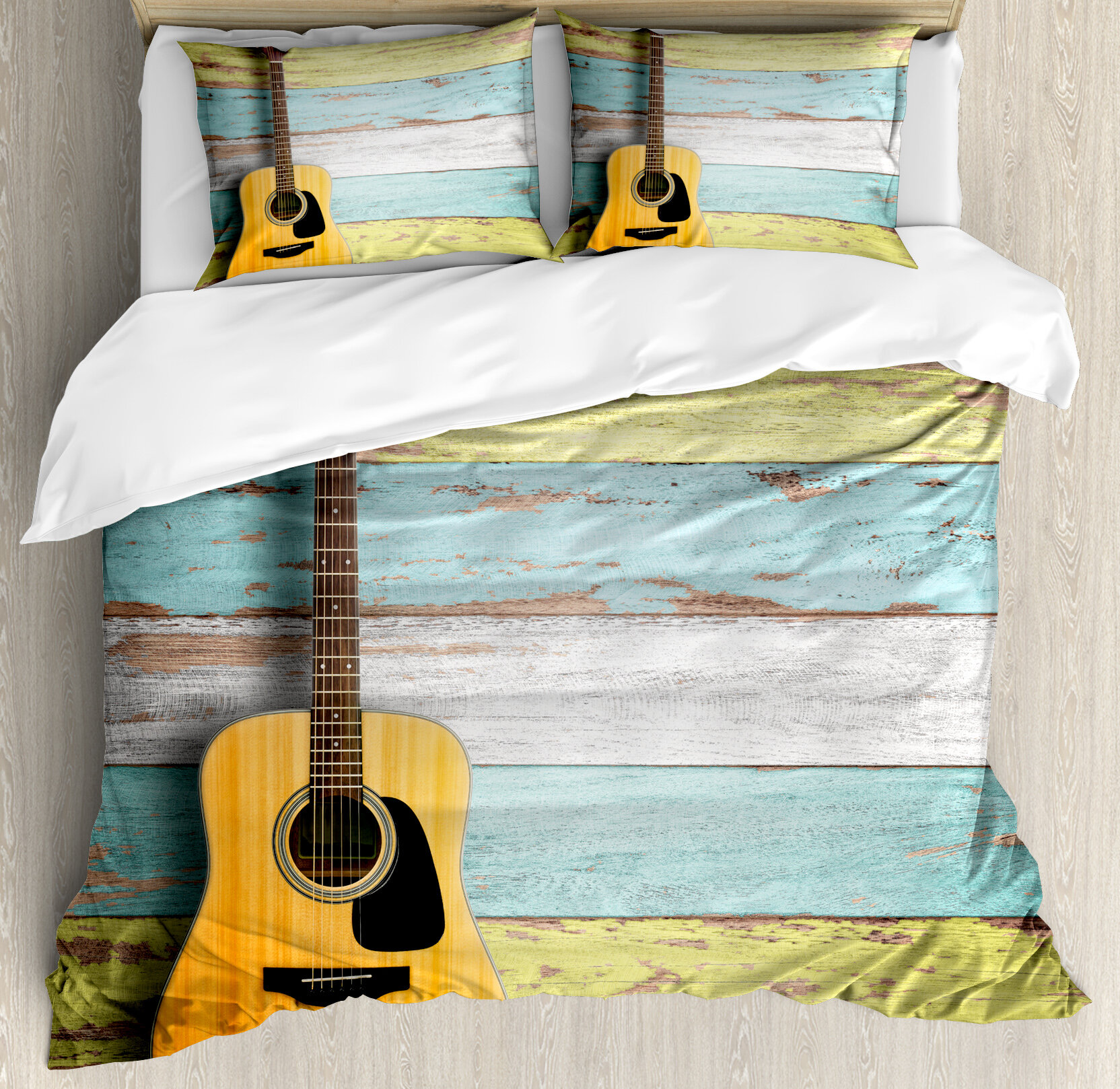 Ambesonne Music Acoustic Guitar Painted Aged Wooden Planks Rustic Country  Decor Duvet Set | Wayfair