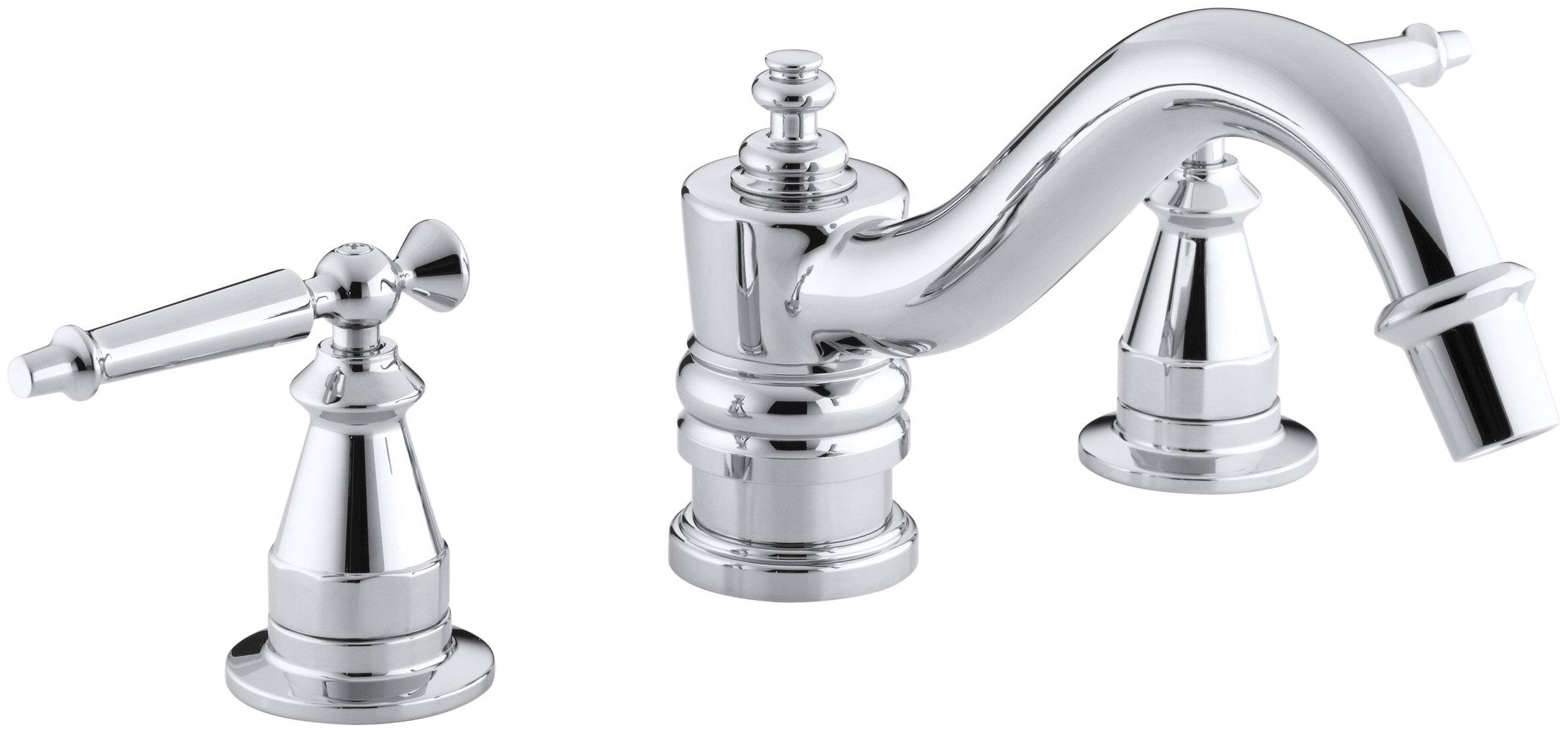 K-T125-4-BN,CP,PB Kohler Antique Bath Faucet Trim for Deck-Mount ...