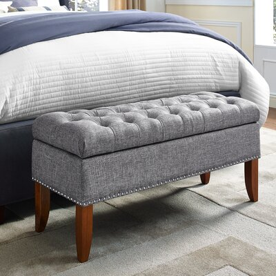 grey bedroom benches you ll love wayfair 11715 | mortensen upholstered storage bench