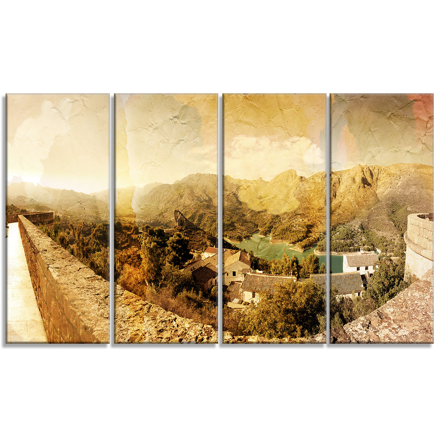DesignArt \'Mountain and Lofty Lake\' 4 Piece Wall Art on Wrapped ...