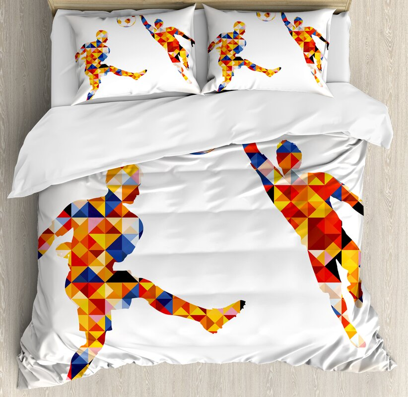 Sports Abstract With Football Soccer Players In Geometrical Colorful Shapes  Print Duvet Set