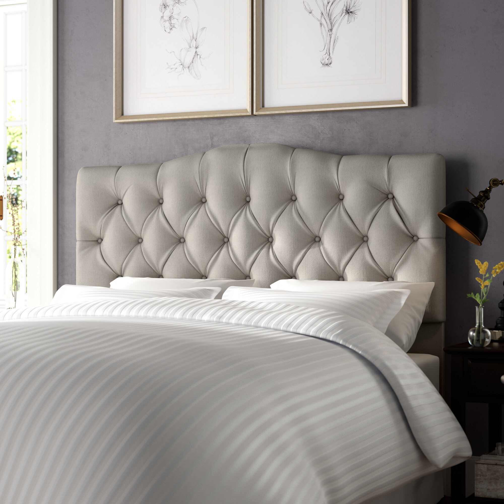 grey gallery linen a headboard headboards dark view bedroom for luxurious in