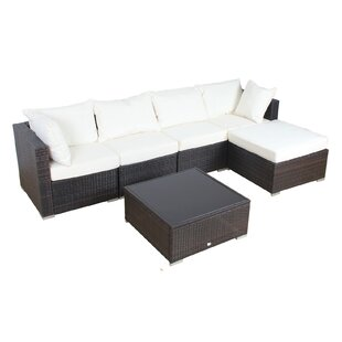 Patio 6 Piece Rattan Sectional Set With Cushions. By Auro Furniture