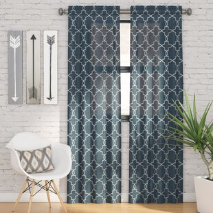 Kaiser Geometric Semi Sheer Rod Pocket Curtain Panels Set Of 2