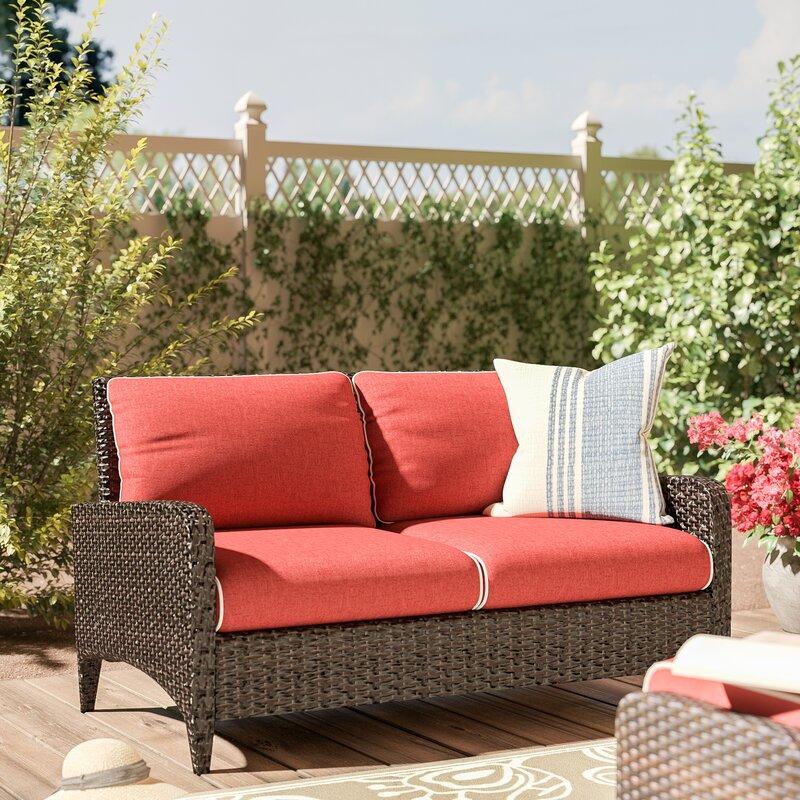 outdoor bay cushion brown patio meadows loveseat wicker hampton park p beige with loveseats