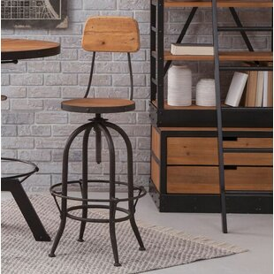 Andrew Adjustable Height Swivel Bar Stool With Back