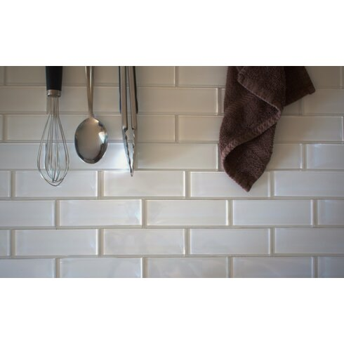 Ws Tiles Premium Series 2 X 6 Gl Subway Tile In White Wayfair