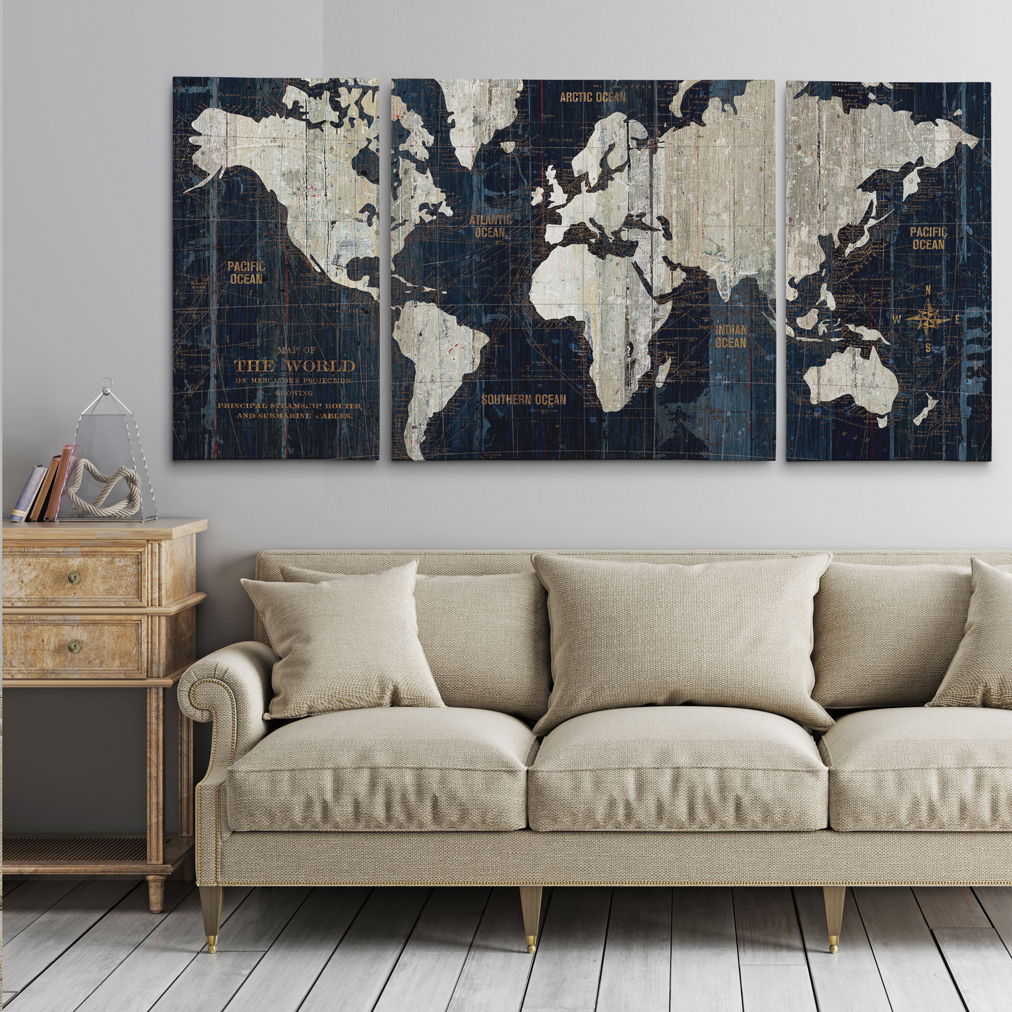 e586c122d5d Wrought Studio  Old World Map Blue  Framed Graphic Art Print on Wrapped  Canvas   Reviews