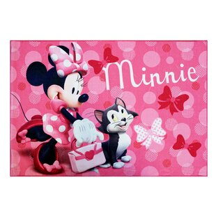 Disney Minnie Mouse Polyester Pink Kids Rug