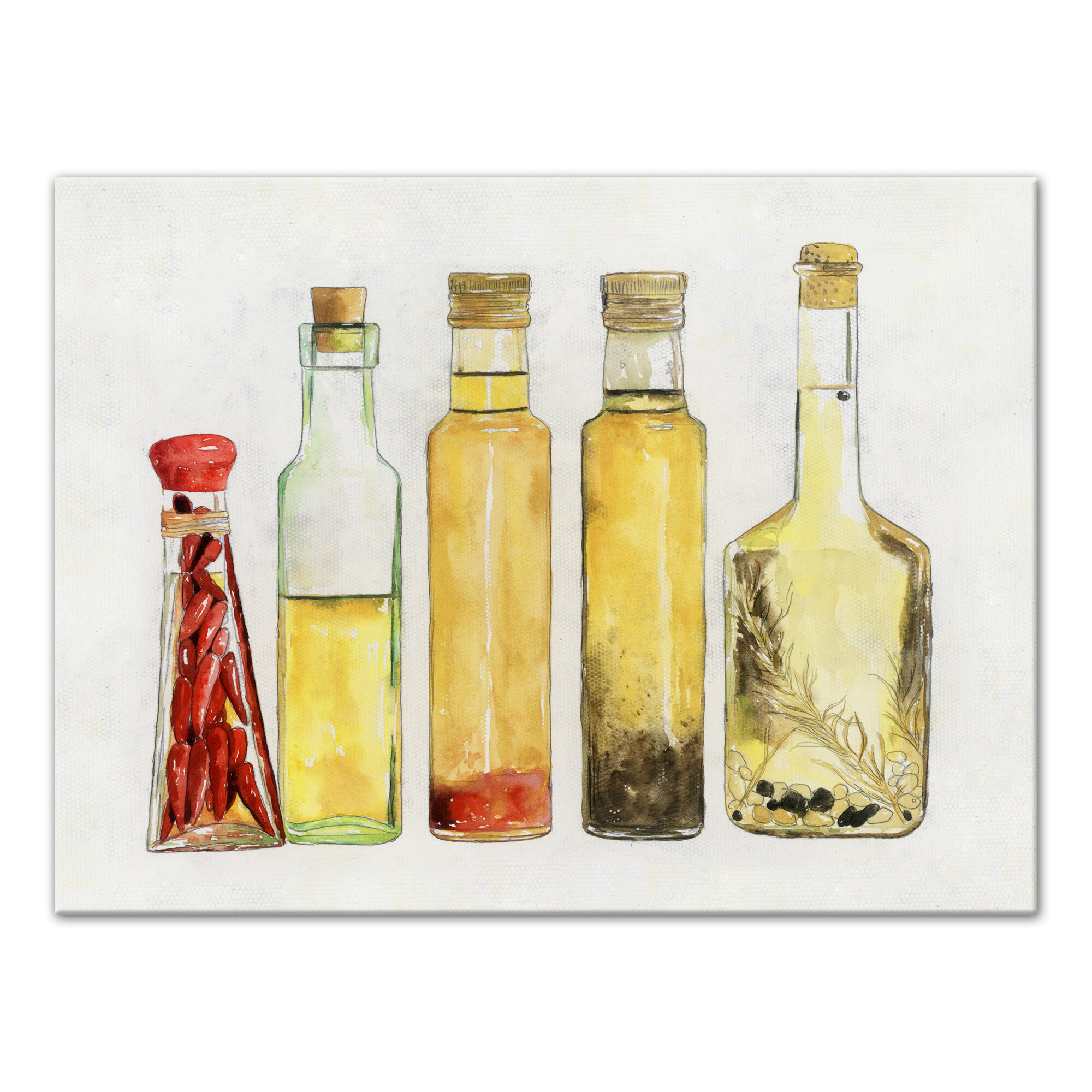 6426f9631b43 'Olive Oil Bottles' Acrylic Painting Print on Canvas