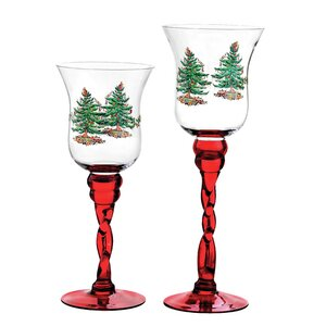 Christmas Tree Glass Fluted Footed Candle Holders (Set of 2)