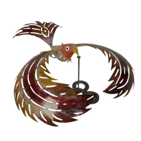 Bali Garden Colorful Metal Kinetic Balancing Bird Garden Statue