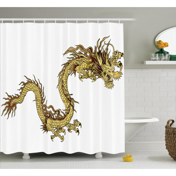 Langevin Dragon Fire Dragon Zodiac Large Claws Symbol of Power Chinese  Astrology Mythology Single Shower Curtain