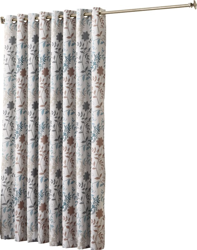 Auburn Extra Wide Floral Room Darkening Sliding Patio Door Curtain Panel