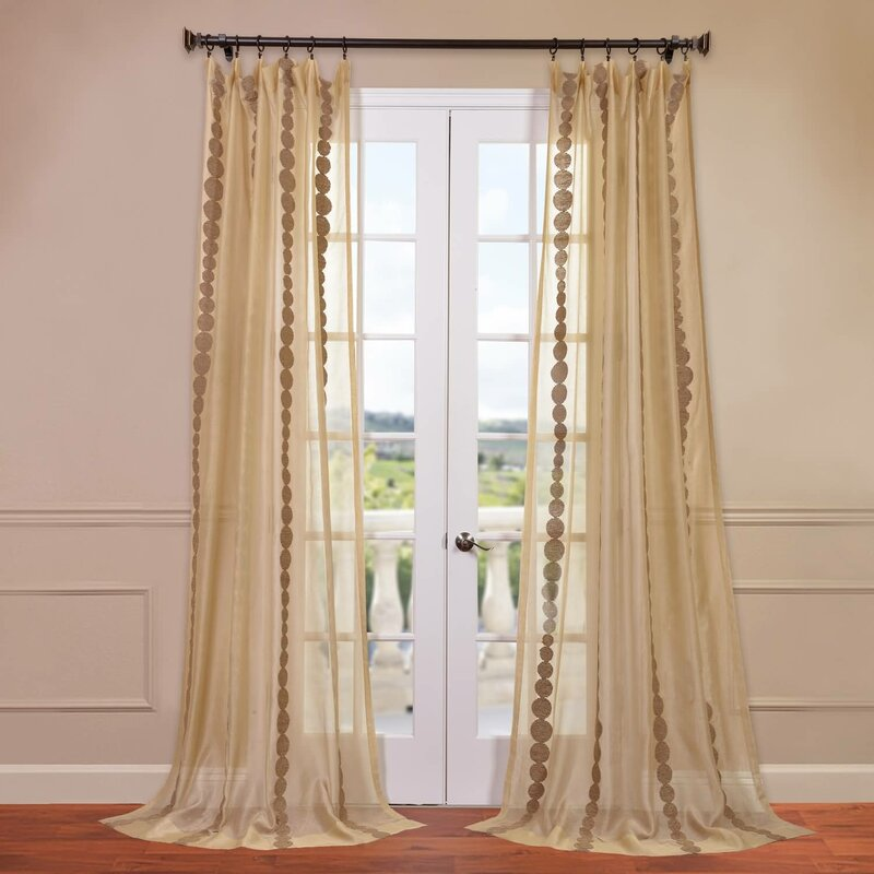 cleopatra geometric sheer rod pocket single curtain panel