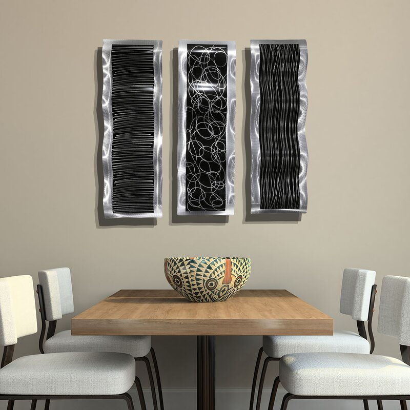 Orren Ellis 3 Piece Chaotic Wave Metal Wall Décor Set