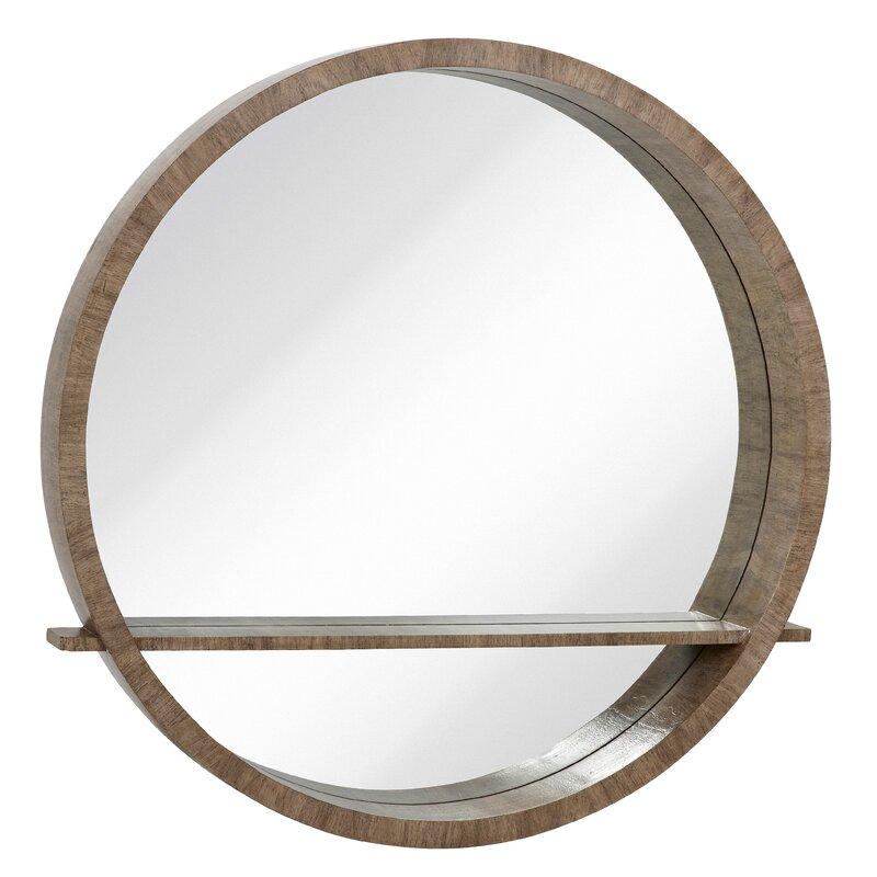 c62e62e51222 Majestic Mirror Distressed Gray Circular Wall Mirror with Shelf ...