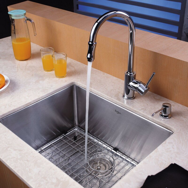 23   x 18   undermount kitchen sink with faucet and soap dispenser kraus 23   x 18   undermount kitchen sink with faucet and soap      rh   wayfair com