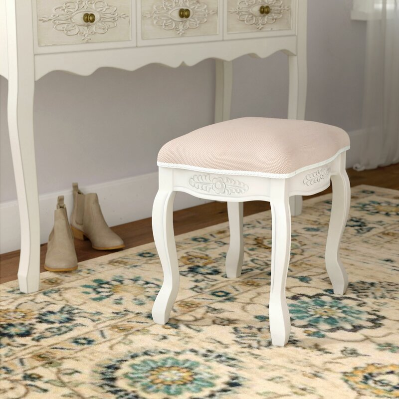 Adelinna Hand Carved Antique White Vanity Stool Amp Reviews